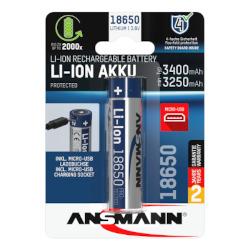 Batterie Li-Ion 18650 3400mAh avec prise Micro-USB