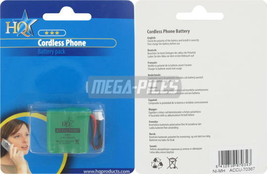 BATTERIE TELEPHONE T0367 2.4V 300mAh
