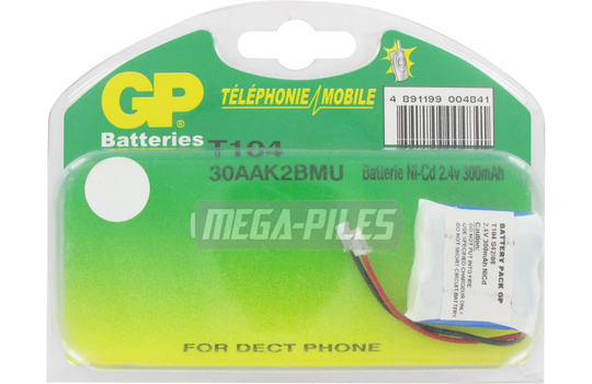 BATTERIE TELEPHONE T104 2.4V 300mAh 2x1/2LR06 connecteur U