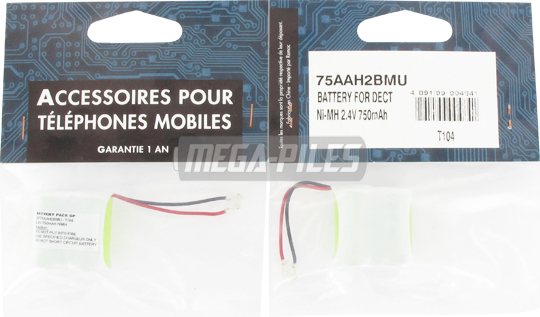 BATTERIE TELEPHONE T104M 2.4V 600mAh 2x1/2LR06 connecteur U