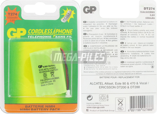 BATTERIE TELEPHONE T274 3.6V 550mAh