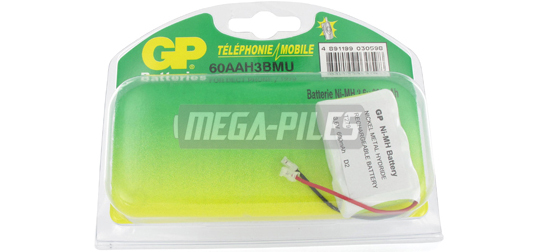BATTERIE TELEPHONE T279 3.6V 600mAh 3x1/2LR06 connecteur U
