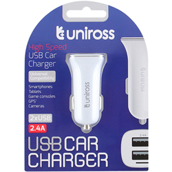 CHARGEUR ALLUME-CIGARE POUR ENTREE 2x USB 2.4A UNIROSS