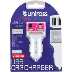 CHARGEUR ALLUME-CIGARE POUR ENTREE 3xUSB 2.4A QC3 UNIROSS