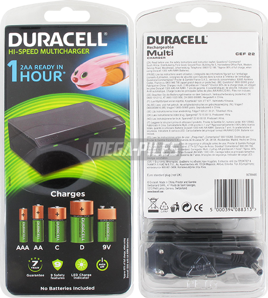 chargeur piles 4x aaa aa c d 1x 9v 6lr61 duracell m ga piles. Black Bedroom Furniture Sets. Home Design Ideas