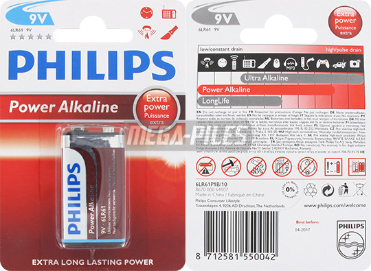 PILE 6LR61 POWER ALCALINE 9V x1