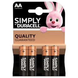 PILE AA LR6 ALCALINE SIMPLY 1.5v BL4 DURACELL