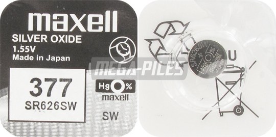 Pile Sr626sw Oxyde Argent 377 1 55v 28mah X1 Maxell Méga Piles