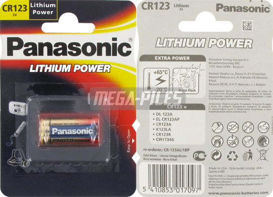 PILE CR123A LITHIUM POWER PHOTO 3V 1400mAh x1