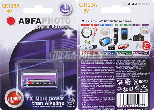 PILE CR123A LITHIUM EXTREME PHOTO 3V 1400mAh x1