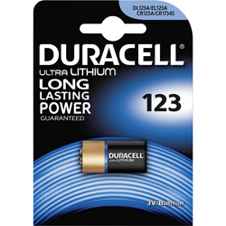 PILE CR123A LITHIUM PHOTO 3V 1400mAh ULTRA BLISTER x1 DURACELL