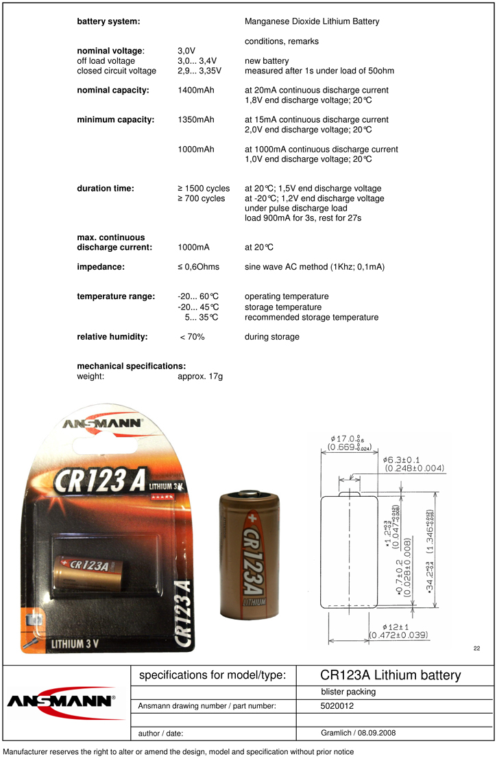 PILE CR123A LITHIUM PHOTO 3V 1400mAh x1