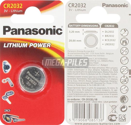 pile cr2032 lithium 3v 225mah blister x1 panasonic m ga. Black Bedroom Furniture Sets. Home Design Ideas
