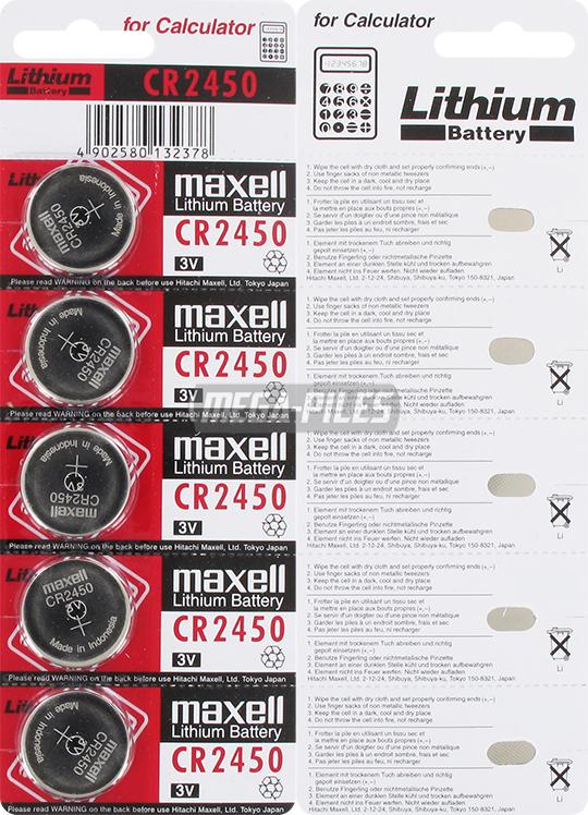 Pile cr2450 lithium 3v 610mah x5 maxell m ga piles - Pile cr2450 3v ...