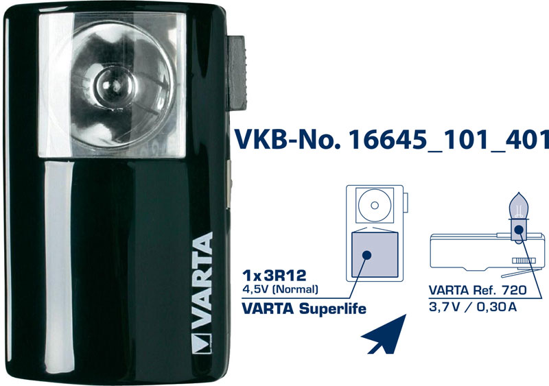 PILE ELECTRIQUE A MAIN +1 PILE 4.5V VARTA SUPERLIFE