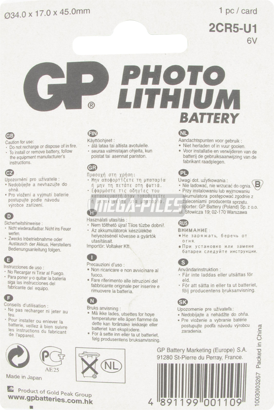 PILE LITHIUM PHOTO 2CR5 6V 1300mAh
