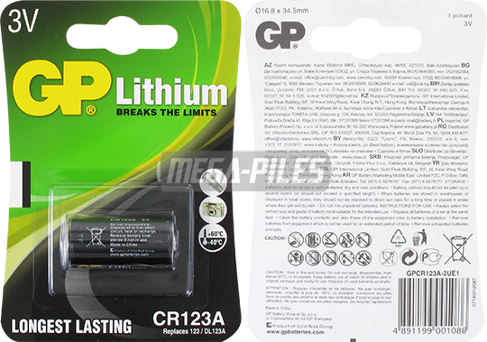 PILE LITHIUM PHOTO CR123A 3V 1400mAh
