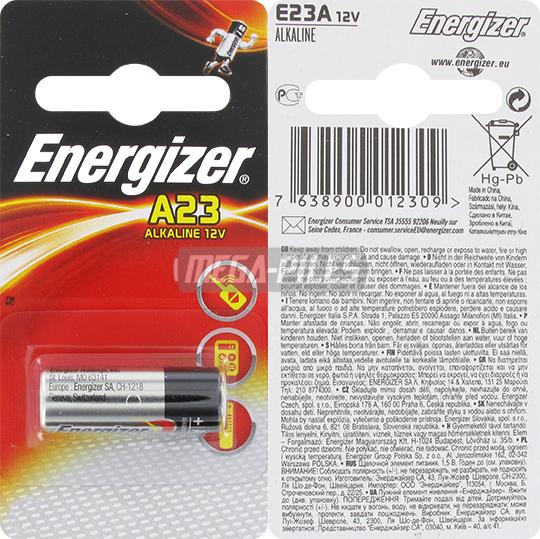 Pile e23a lr23a alcaline 12v 55mah x1 energizer m ga piles - Pile 23a 12v ...