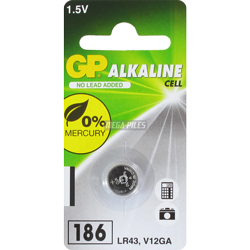 PILE LR43 ALCALINE 186C 1.5V 70mAh x1