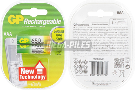 PILE RECHARGEABLE AAA HR03 1.2V 650mAh NiMH x2