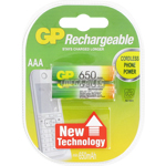 PILE RECHARGEABLE AAA HR03 1.2V 650mAh NiMH x2 GP