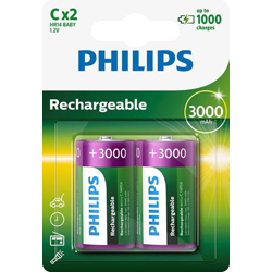 PILE RECHARGEABLE HR14 1.2V 3000mAh x2 PHILIPS