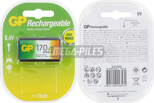PILE RECHARGEABLE NiMH HR9V RC22 8.4V 170mAh