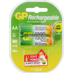 PILES AA RECHARGEABLES HR6 NiMH 1.2V 1300mAh x2 GP