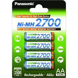 PILES AA RECHARGEABLES HR6 NiMH 1.2V 2500mAh x4 PANASONIC
