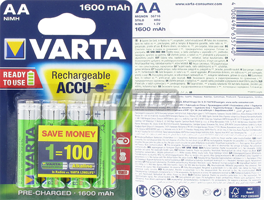 PILES AA RECHARGEABLES HR6 NiMH 1.2V 1600mAh Ready to Use x4