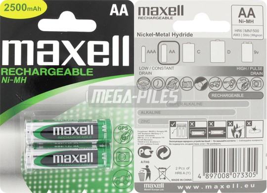 PILES AA RECHARGEABLES HR6 NiMH 1.2V 2300mAh x2