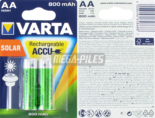 PILES AA RECHARGEABLES HR6 NiMH 1.2V 800mAh Ready to Use x2