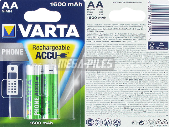 PILES AA RECHARGEABLES LR6 Phone T399 NiMH 1.2V 1600mAh Ready to Use x2