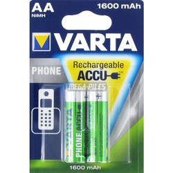 PILES AA RECHARGEABLES HR6 Phone T399 NiMH 1.2V 1600mAh Ready to Use x2