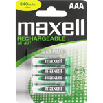 PILES AAA RECHARGEABLES HR03 NiMH 1.2V 840mAh x4 MAXELL