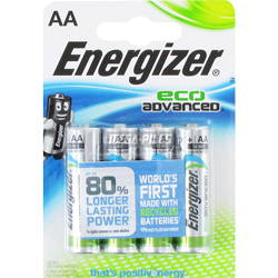 PILES ALCALINES ECO ADVANCED LR6 AA MX1500 x4 ENERGIZER