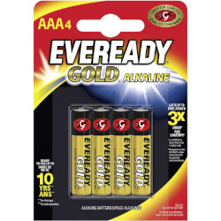 Piles alcalines LR03 Eveready Gold AAA MN2400 1.5v BL4
