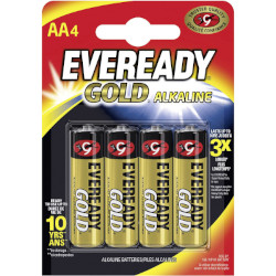Piles alcalines LR6 Eveready Gold AA MN1500 1.5v BL4