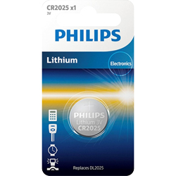 PILES BOUTON LITHIUM CR2025 3V 160mAh x1 PHILIPS