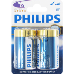 PILES LR20 D EXTREM POWER ALCALINES x2 PHILIPS