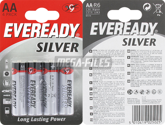 PILES R6 SALINES AA SILVER 1.50V x4