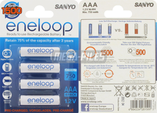 PILES RECHARGEABLES Eneloop NiMH AAA HR03 1.2V 750mAh x4