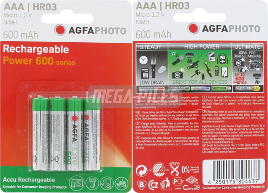 PILES RECHARGEABLES HR03 1.2V 600mAh NiMH PHOTO POWER x4