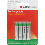 PILES RECHARGEABLES HR03 1.2V 600mAh NiMH PHOTO POWER x4 AGFA