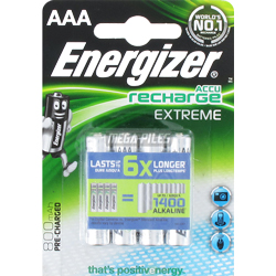 PILES RECHARGEABLES HR03 1.2V 800mAh NiMH Extreme x4 ENERGIZER