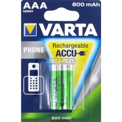 PILES RECHARGEABLES HR03 Phone T398 1.2V 800mAh NiMH Ready to Use x2 VARTA