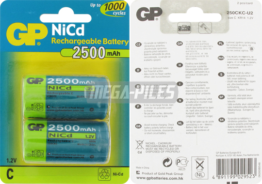 PILES RECHARGEABLES LR14 C 1.2V 2500mAh NiCd x2