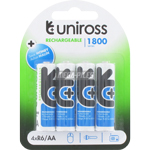 PILES RECHARGEABLES NiMH AA HR6 1.2V 1750mAh x4 UNIROSS
