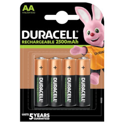 Piles rechargeables NiMH AA HR6 1.2V 2500mAh BL4 DURACELL