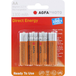 PILES RECHARGEABLES NiMH AA HR6 1.2V 1300mAh DIRECT ENERGY x4 AGFA